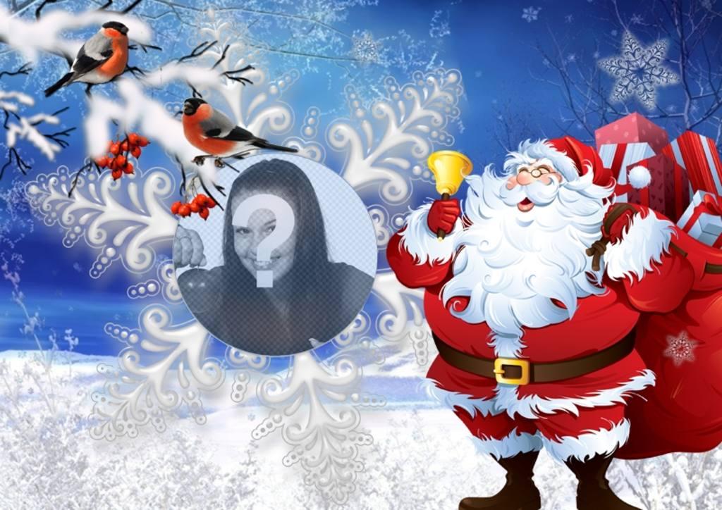 Effet de photo avec le Père Noël et de petits oiseaux