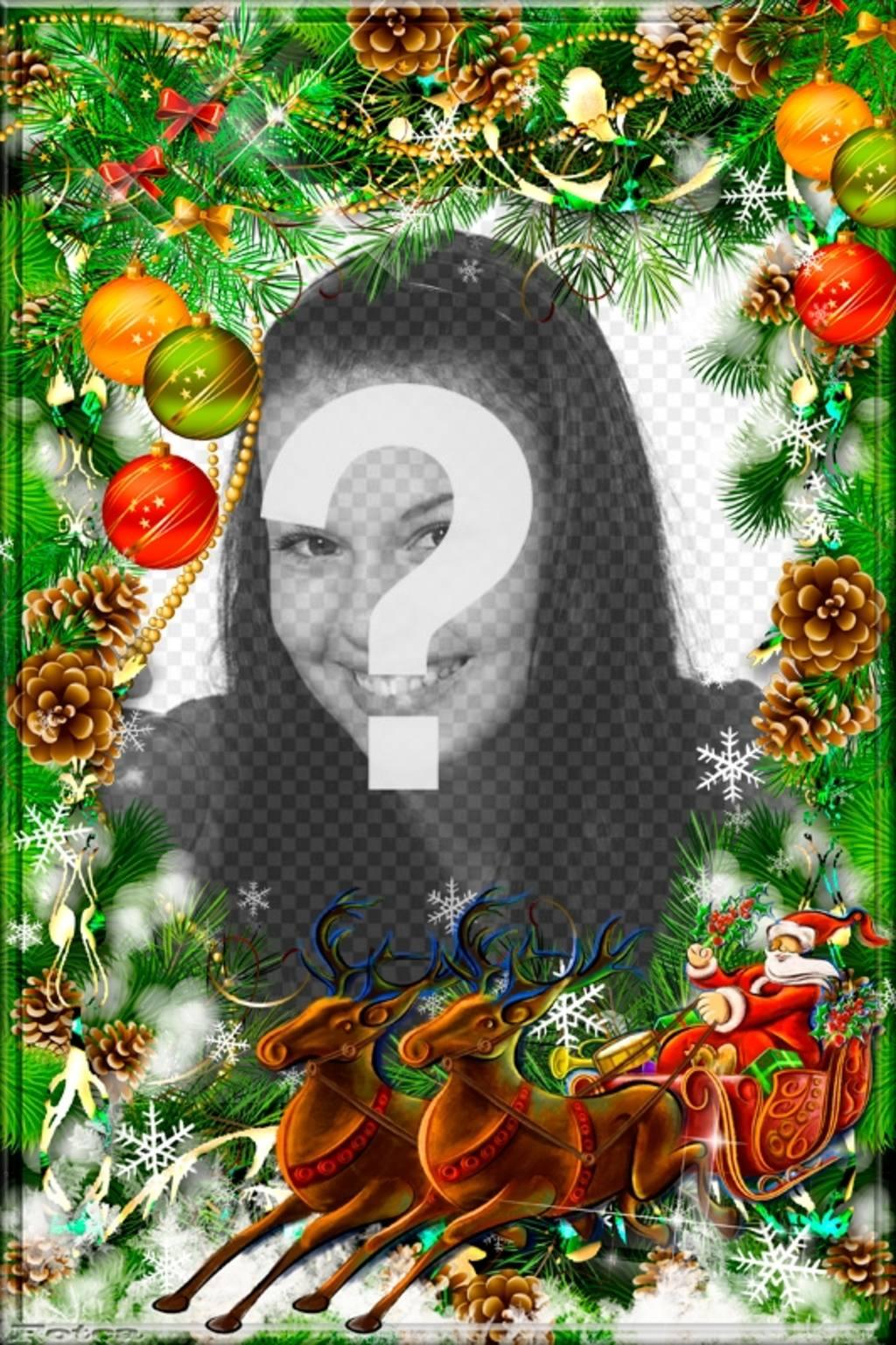 Carte postale de Noël à personnaliser avec une couronne et le Père Noël