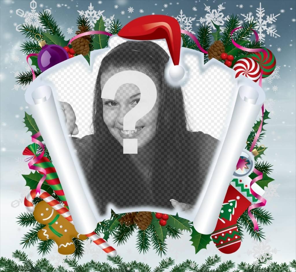 Photomontage de Noël avec du parchemin et dautres articles de Noël