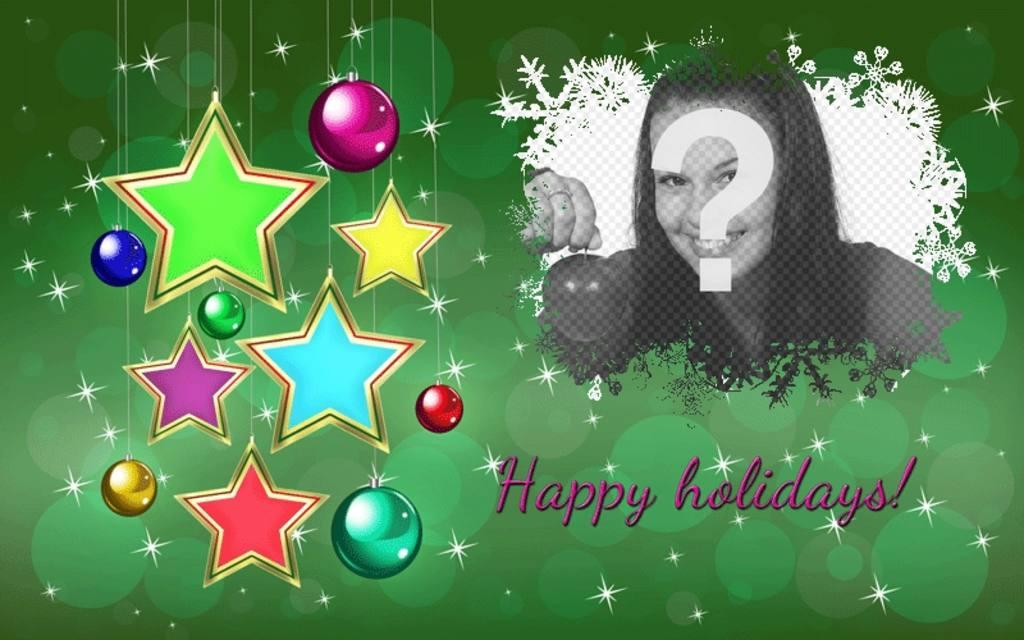 Bonnes fêtes carte postale avec des étoiles pour modifier en ligne