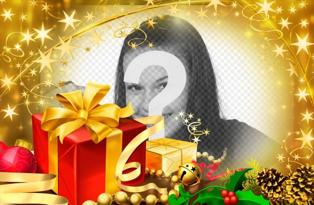Cadre photo pour les cadeaux de Noël et des reflets dorés