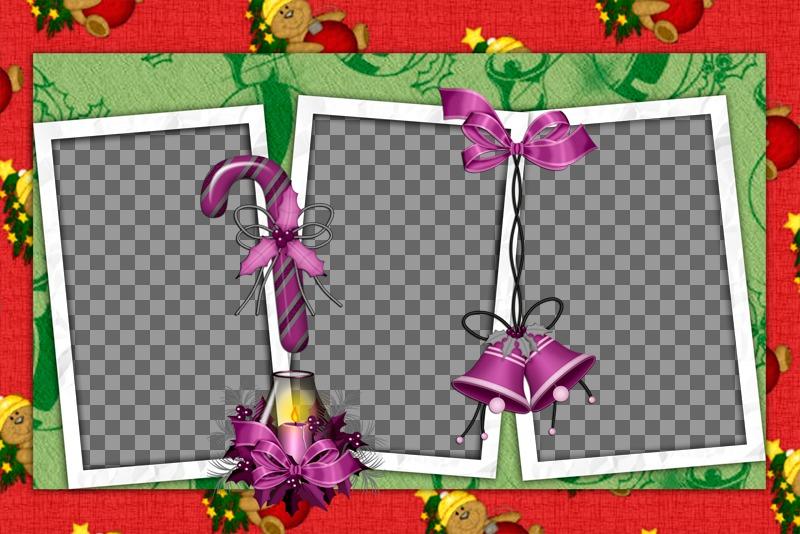 Collage de Noël à customiser avec trois photos