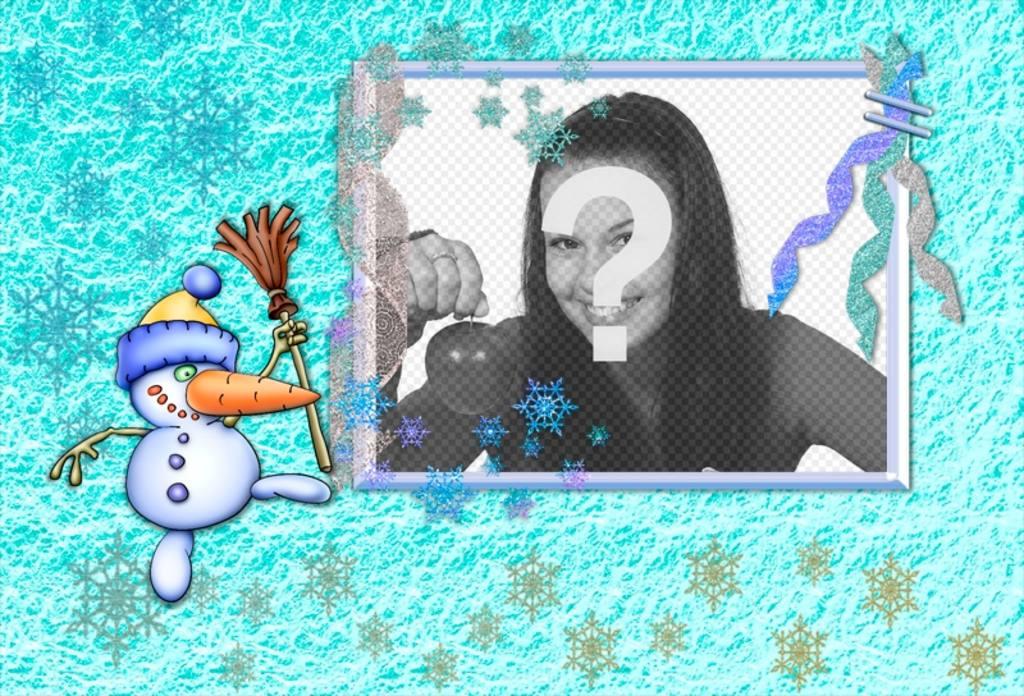 Carte de Noël avec un bonhomme de neige amusant