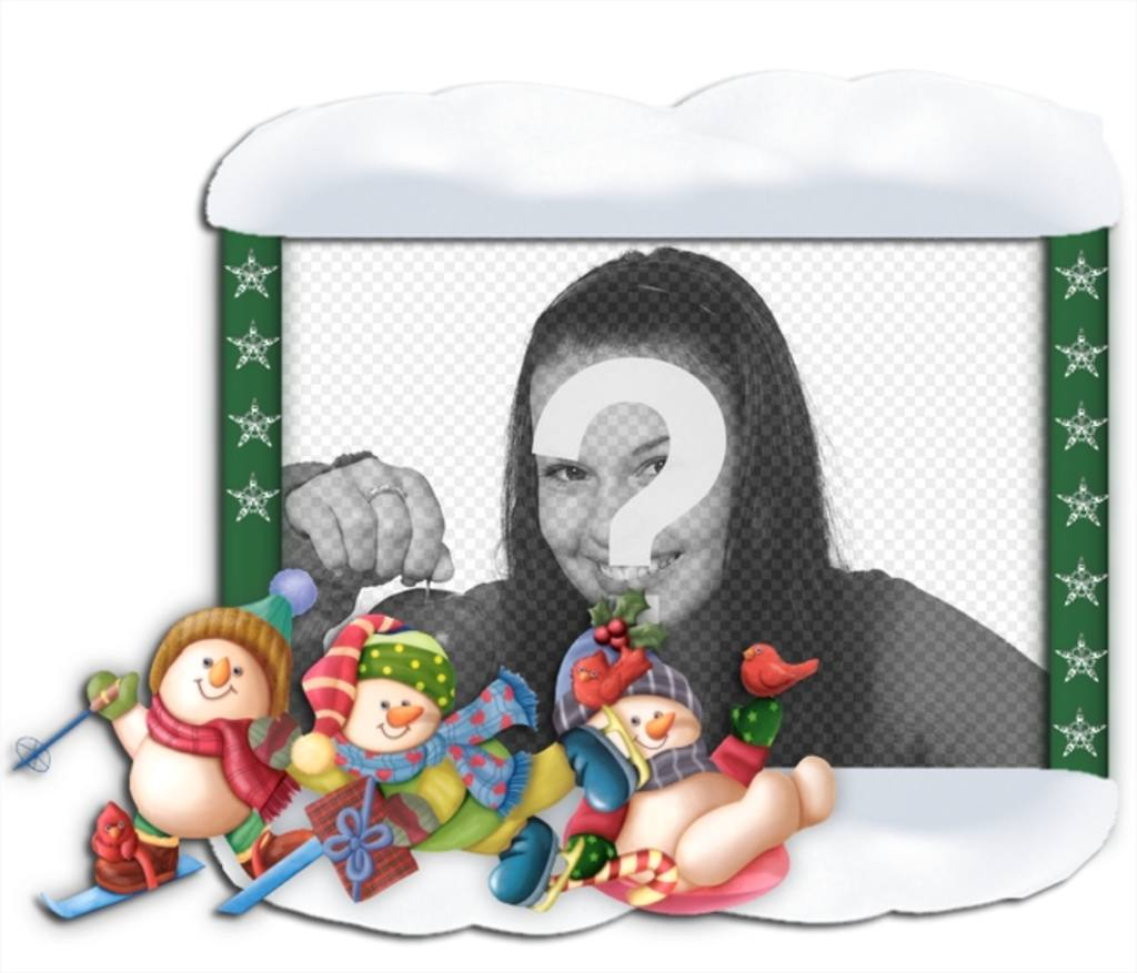 """Noël cadre photo avec des ornements d""""enfants de patinage"""