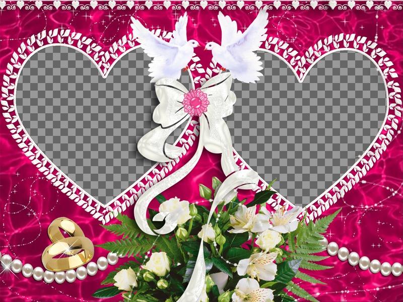 Cadre photo avec deux coeurs pour la Saint Valentin