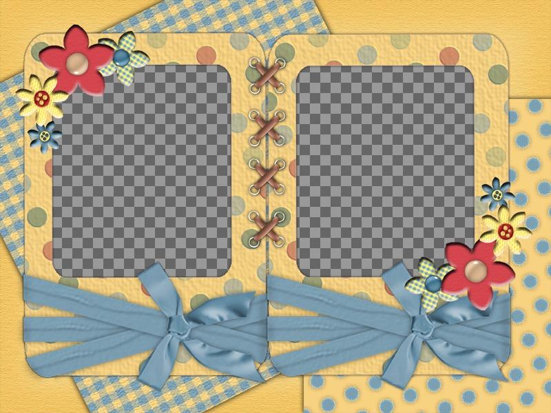 Carte avec deux photos à personnaliser avec des fleurs et des rubans