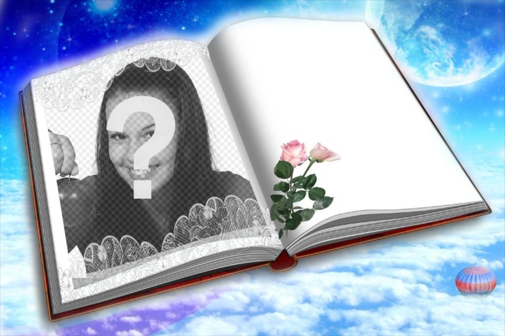Photomontage de mettre votre photo dans un livre avec deux roses