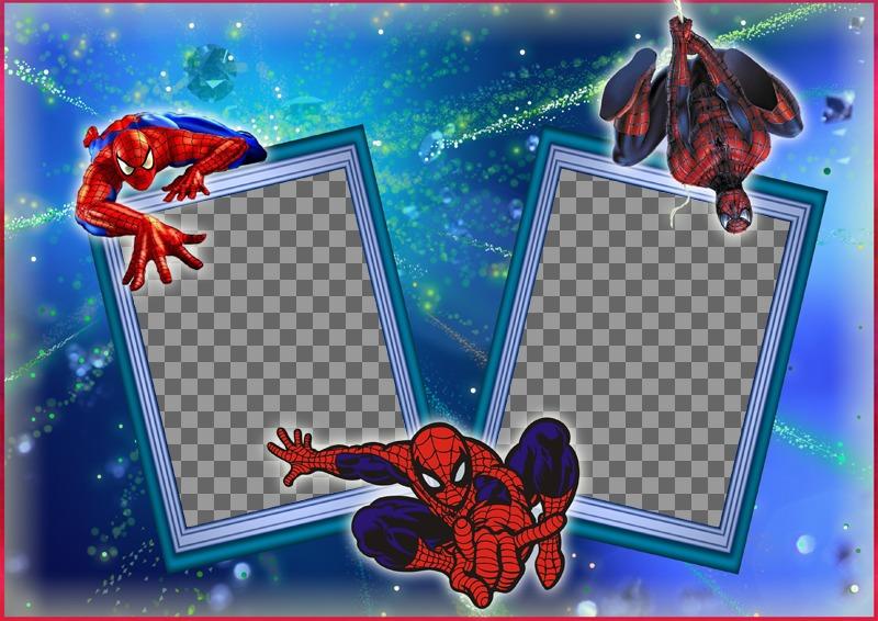 Cadre pour deux photos avec Spiderman et sa toile daraignée