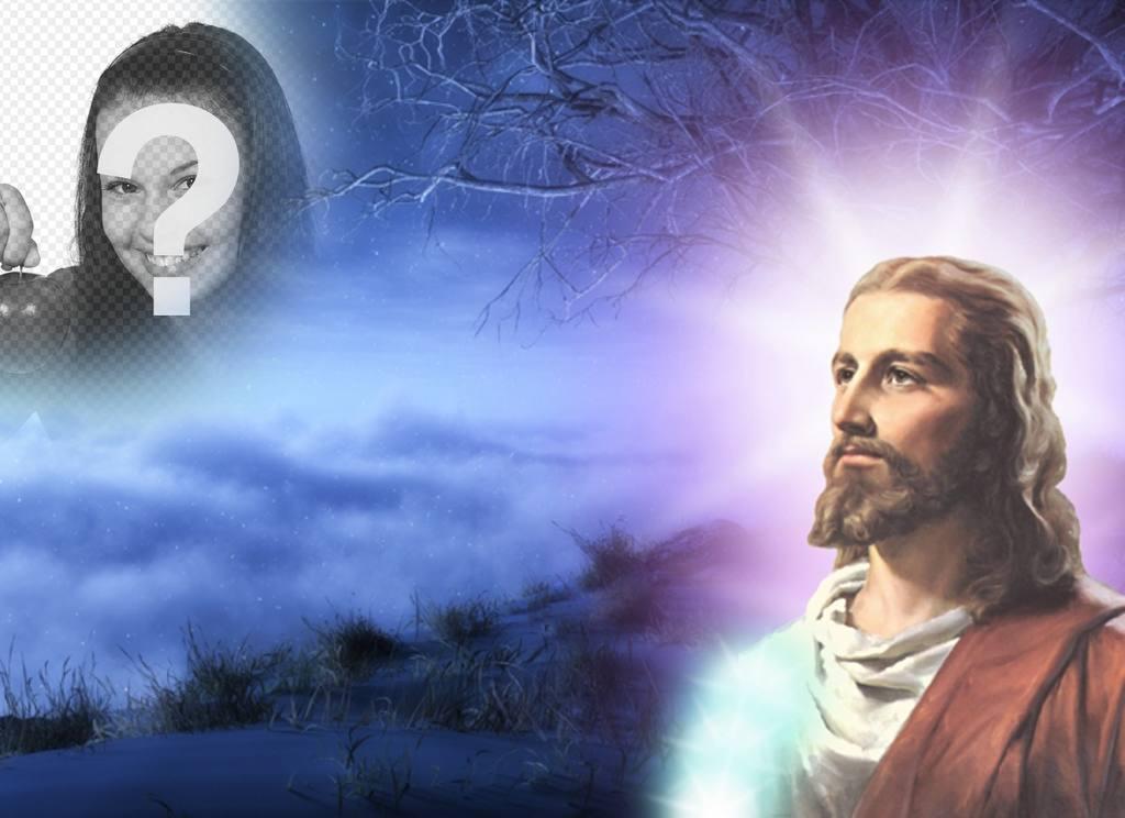 Collage de photos avec Jésus-Christ dans lequel vous pouvez mettre votre photo