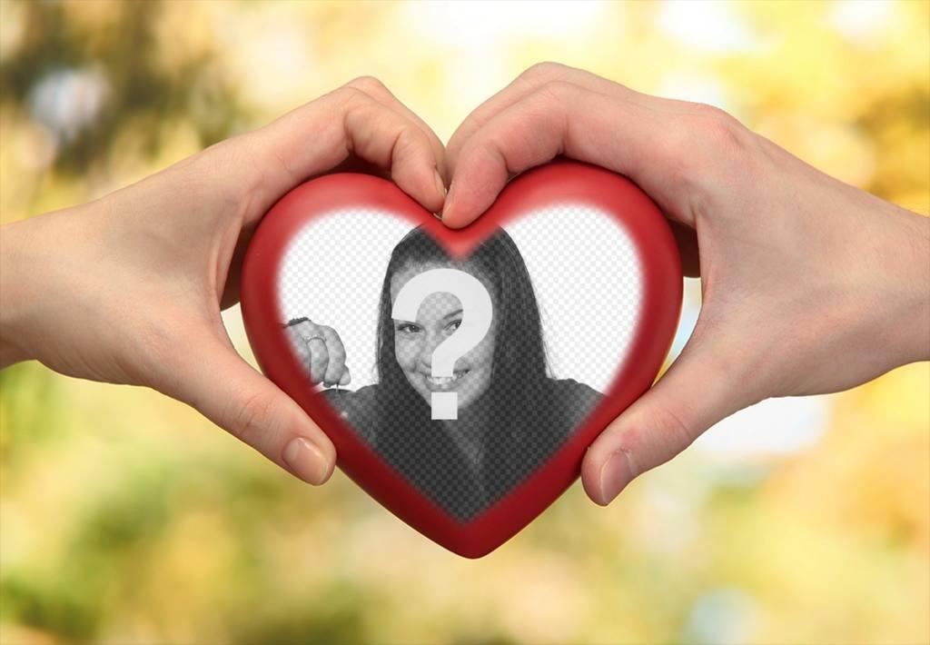 Photomontage de deux mains avec un coeur pour votre photo