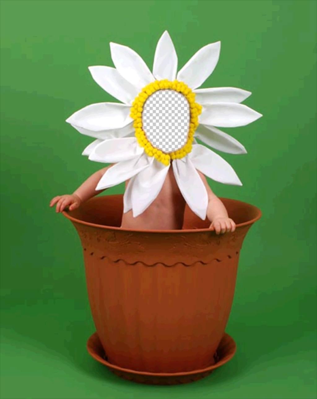 Photomontage pour les enfants de déguiser dune fleur dans un pot
