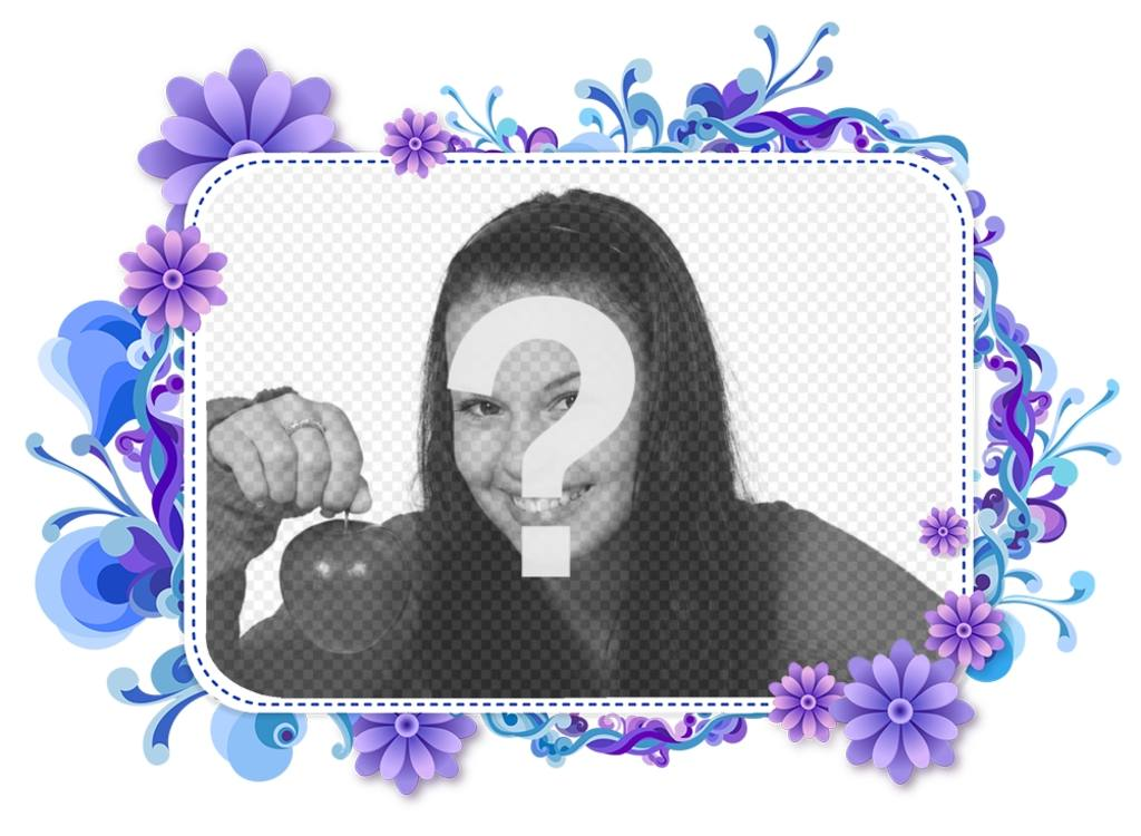 Cadre photo pour votre photo de fleurs violettes et bleues. le violet Mignon