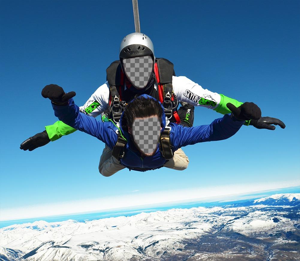 Effet photo de deux personnes dans un parachute pour deux photos