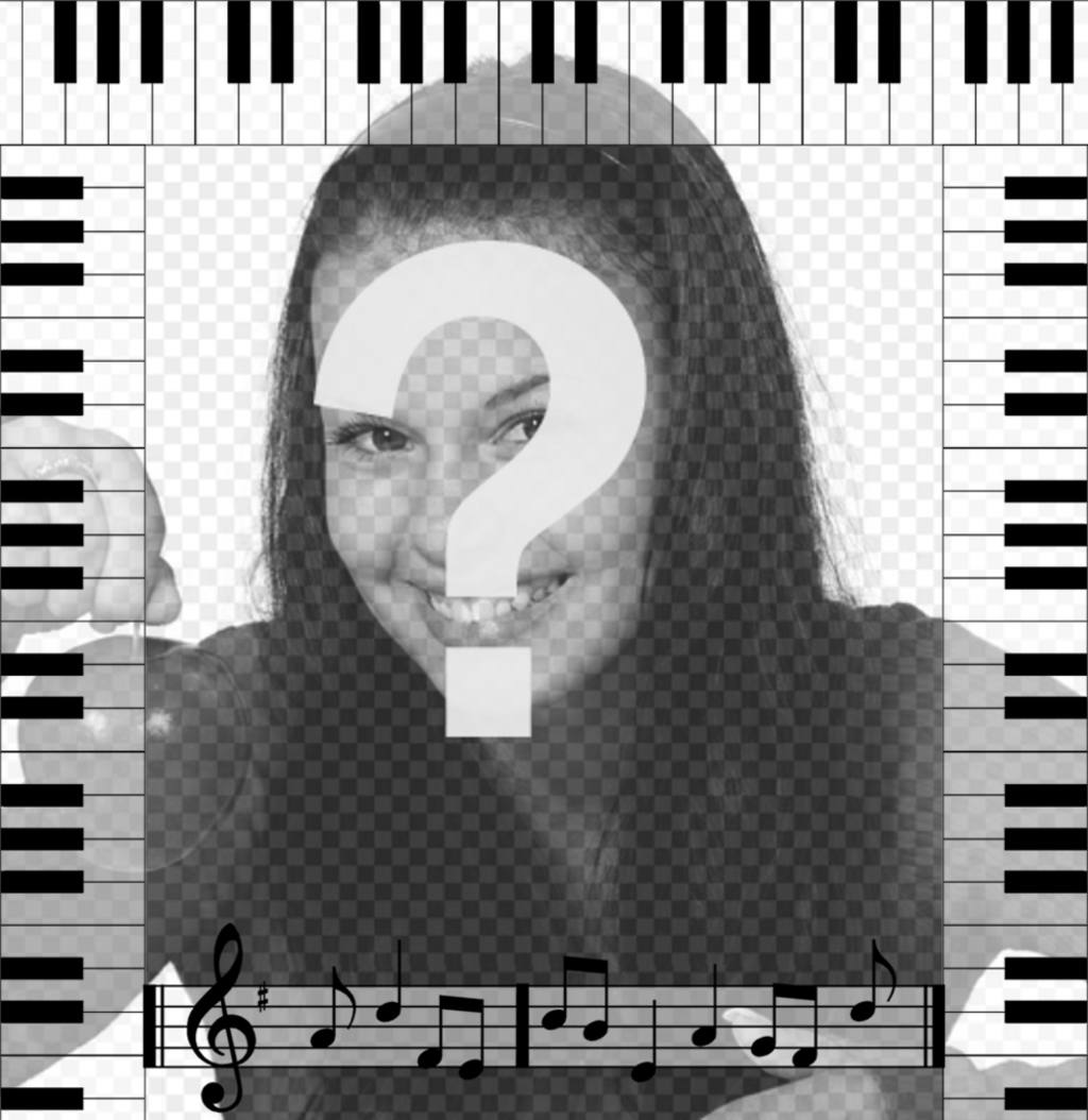 Cadre photo avec notes musicales dun piano