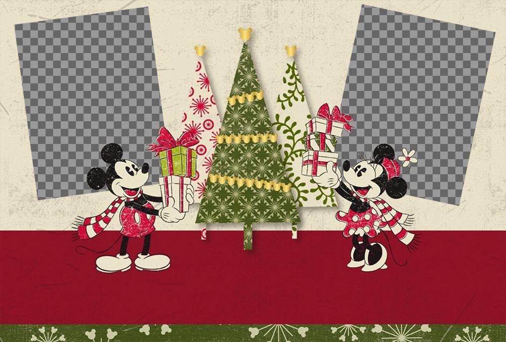 Noël effet photo pour deux photos avec Mickey et Minnie