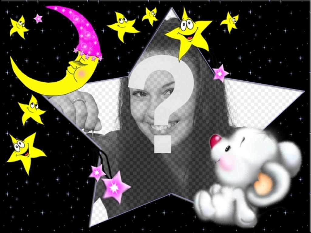 Cadre photo enfant, supporter de dormir avec la lune et les étoiles