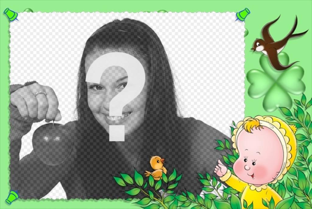 Cadre photo pour enfants avec fond vert, des oiseaux et un bébé