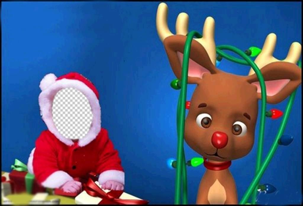 Photomontages mignon pour habiller comme un bébé avec le Père Noël costume