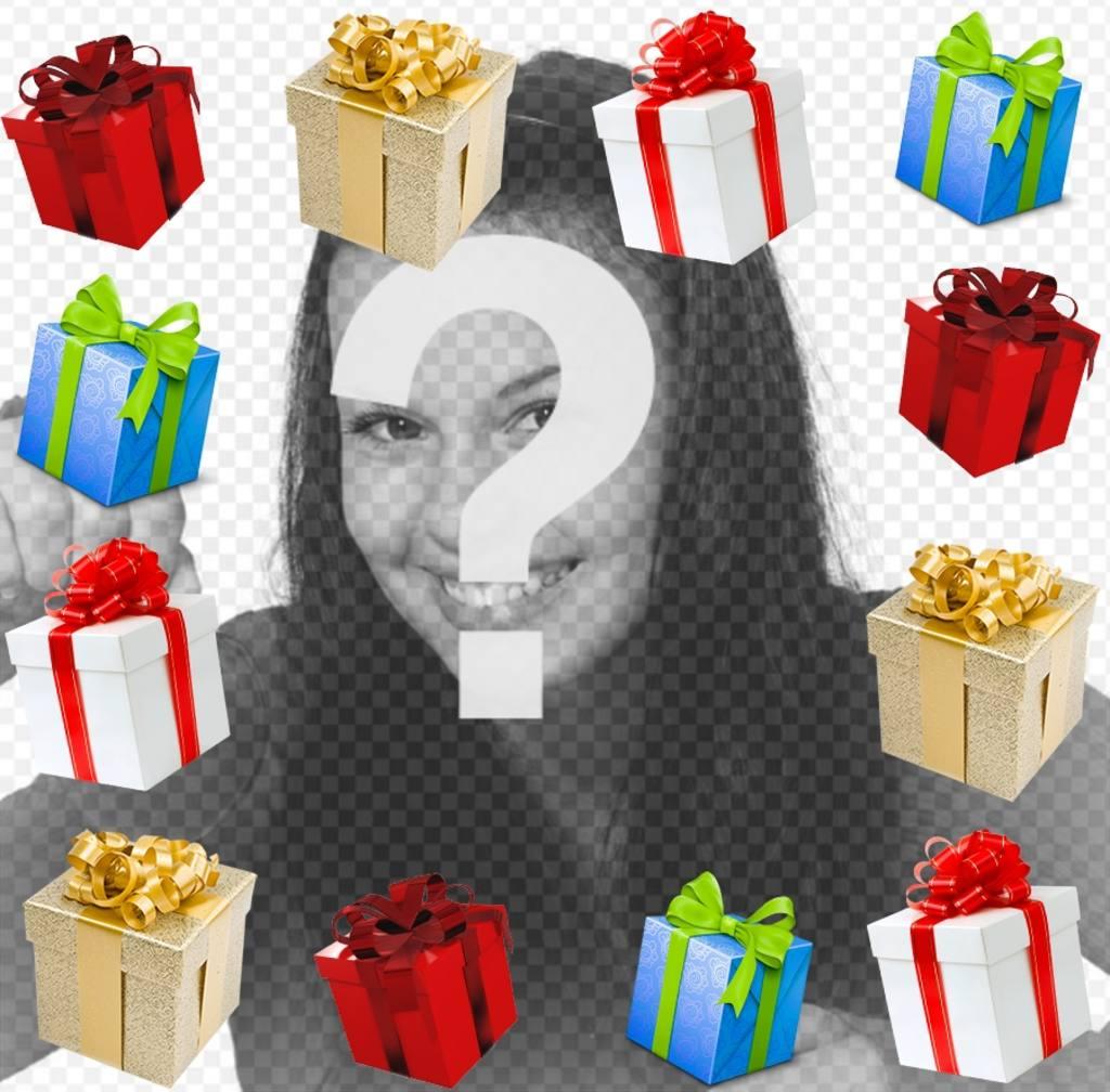 Effet photo dun cadre photo avec des cadeaux pour votre photo