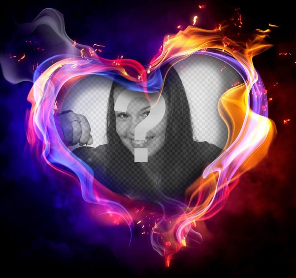 Effet photo dun coeur sur le feu pour télécharger votre photo