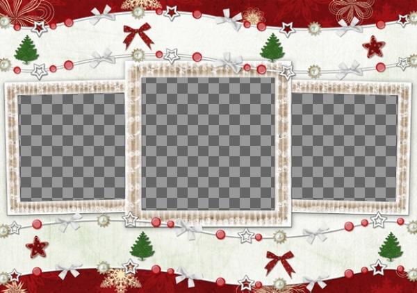 Carte de Noël pour 3 photos et décorations de Noël