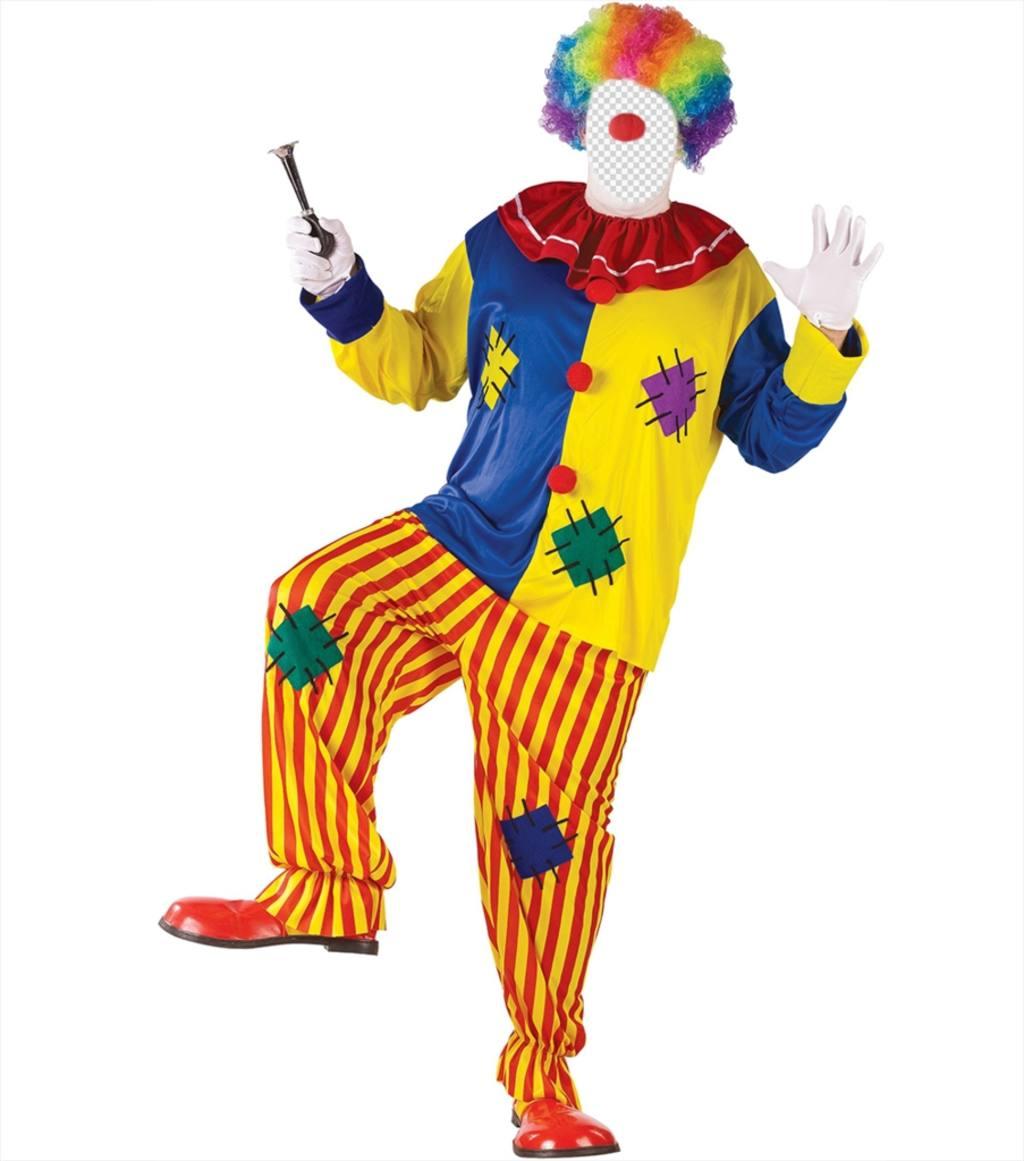Photomontage de télécharger votre photo et la robe comme un clown coloré