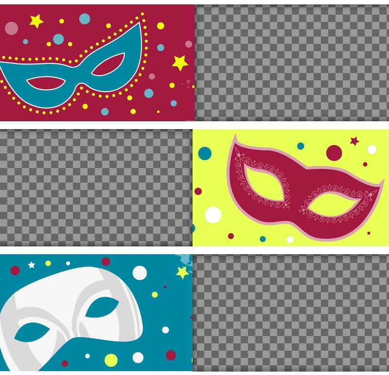 Collage coloré pour célébrer Carnaval téléchargeant trois photos