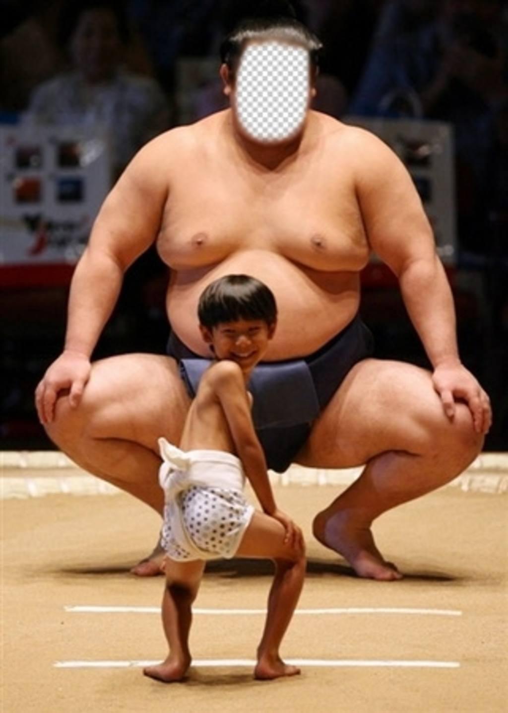 Effet en ligne drôle de mettre votre visage dans Modifie dun lutteur de sumo avec une image cet effet et ajuster votre visage dans le visage dun grand lutteur de sumo avec un petit enfant dans larène de combat et davoir du plaisir à faire cet effet quil sera très réaliste avec un de vos photos et de vous voir avec un corps énorme. Envoyer à vos amis pour les faire rire