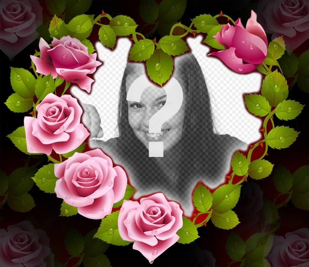 Cadre mignonne dun coeur de roses parfaits pour votre for Envoyer des roses