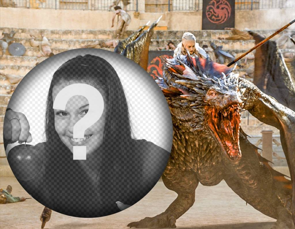 Téléchargez votre photo avec Khaleesi et son dragon dans une scène de leffet photo de Game of Thrones du jeu de série de trônes où Khaleesi apparaît monté sur lun de ses dragons à modifier avec votre photo et partager si vous êtes un fan