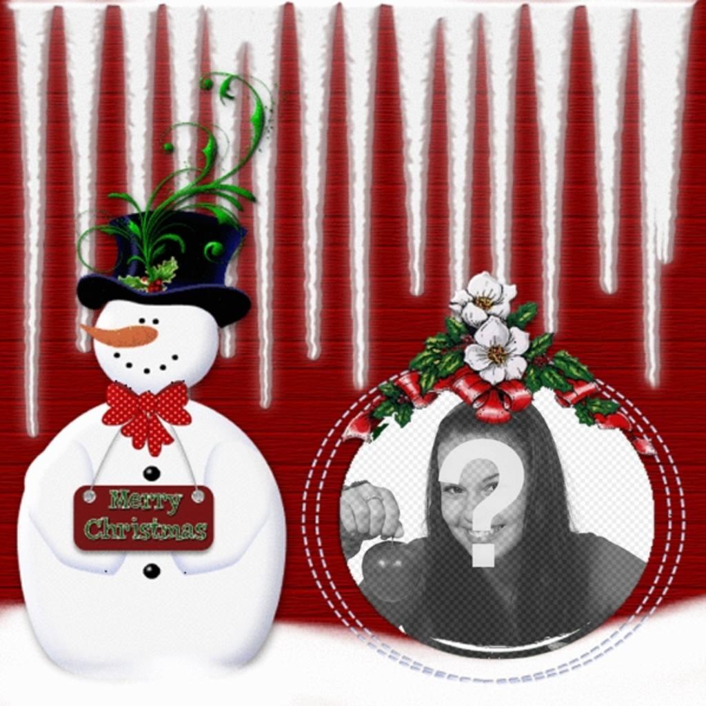 Arrondi cadre photo avec un bonhomme de neige où vous pouvez mettre votre photo dans une boule de Noël