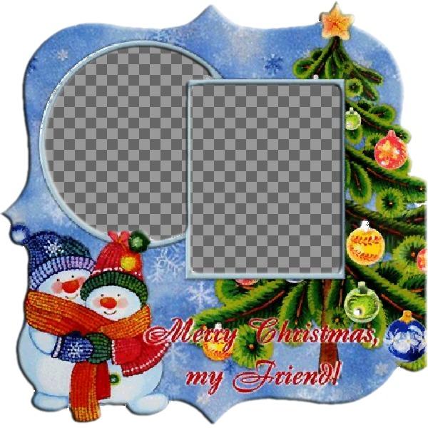 """Cadre pour deux photos à l""""occasion de l""""arbre de Noël et des bonhommes de neige"""