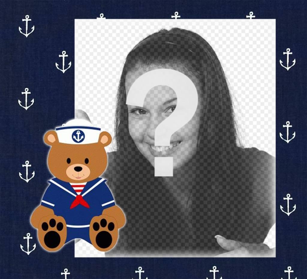 Cadre avec un marin ours en peluche pour télécharger une photo et décorer