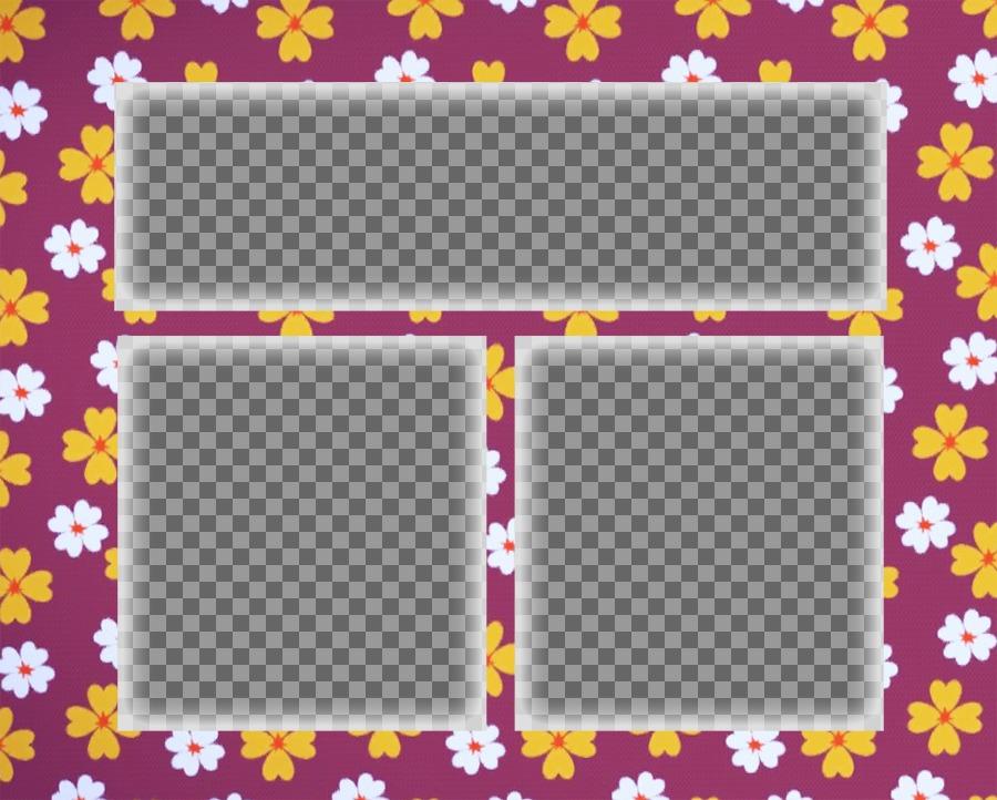 Mosaic pour trois photos avec un fond fleuri