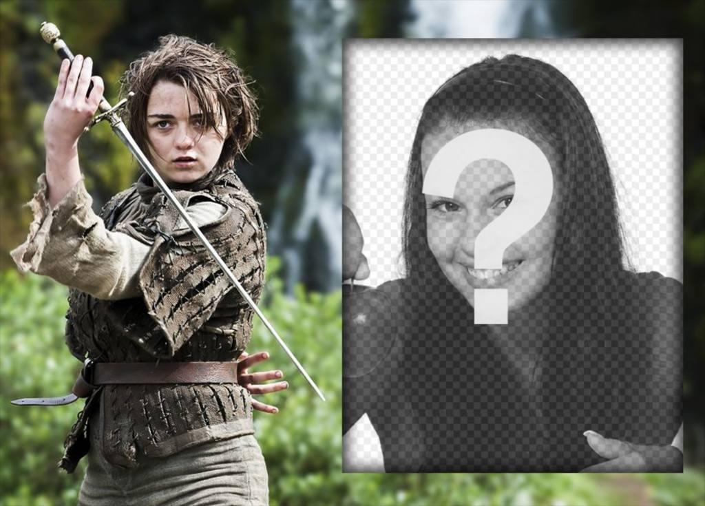 Effet photo pour les admirateurs de lEdit Arya Stark avec votre photo cet effet avec le caractère Arya Stark de Game of Thrones avec son épée. Effet de rendre très rapide et gratuit et parfait pour les fans de cette série TV