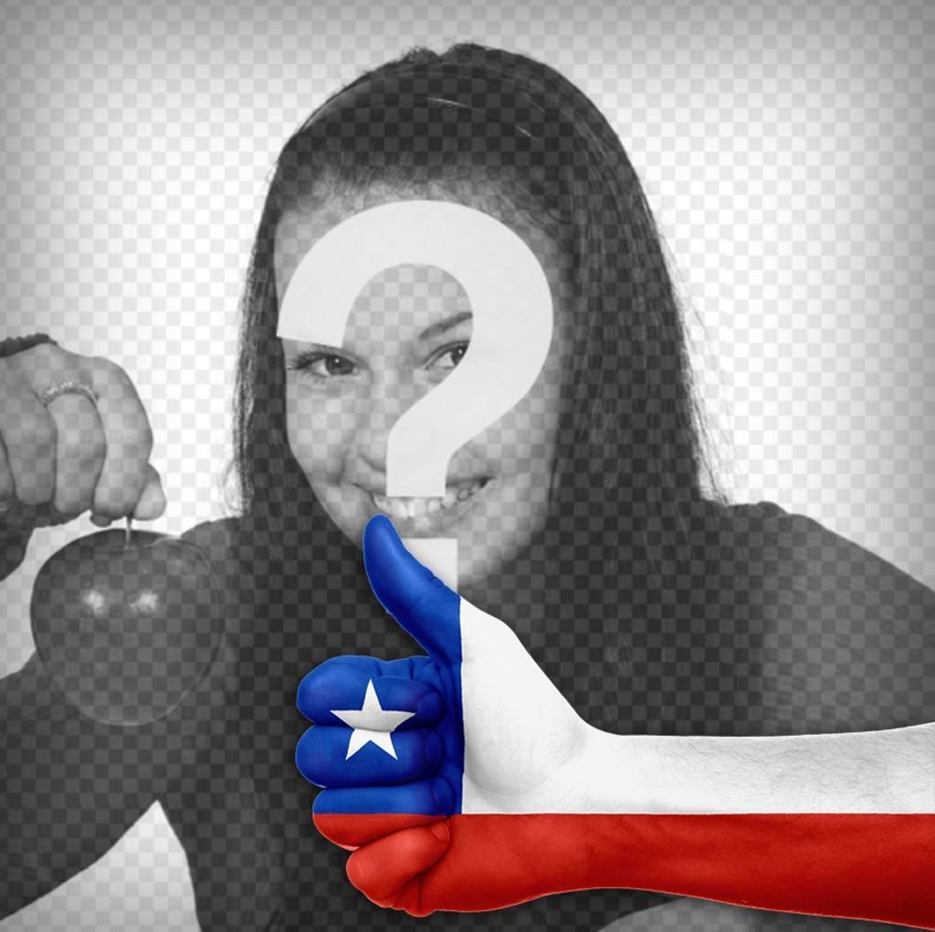 Thumb up avec le drapeau du Chili pour décorer les photos