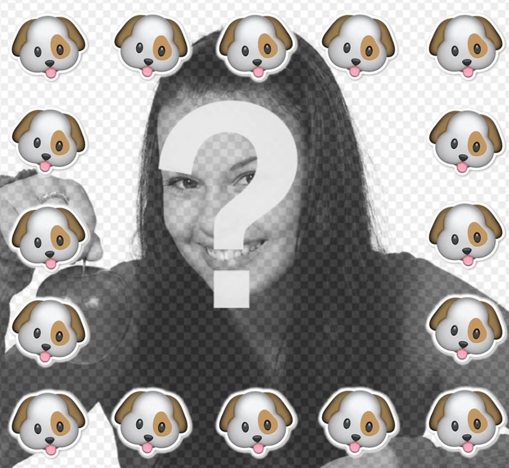 Entourez-vous avec lémoticône chien avec ce cadre pour Original cadre libre de vos photos du chiot émoticône WhatsApp pour télécharger votre photo et de le décorer. Un effet photo drôle pour les amateurs de chiens