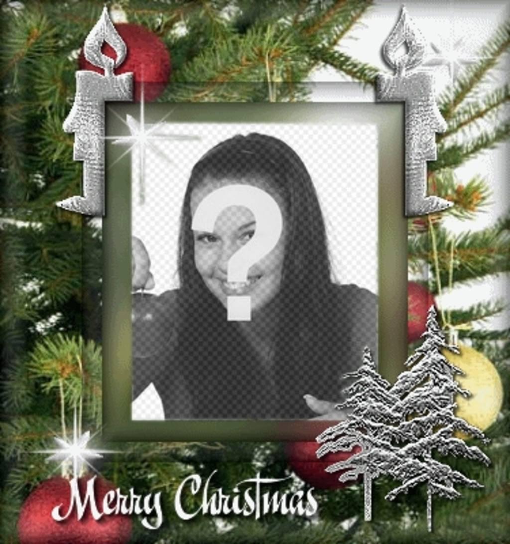 """Carte de Noël personnalisable avec une photo. Contexte de l""""arbre de Noël, avec animation"""