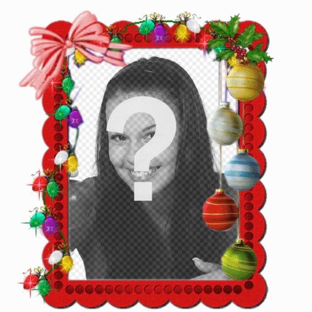 Carte de Noël avec des lumières de Noël animation où vous pouvez mettre une photo en ligne