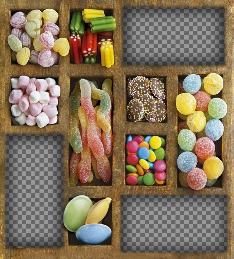 Collage pour les bonbons amateurs de télécharger trois photos