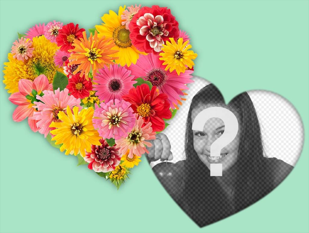 coeur en fleurs pour d corer vos photos avec d coratif effet photo de photoeffets. Black Bedroom Furniture Sets. Home Design Ideas