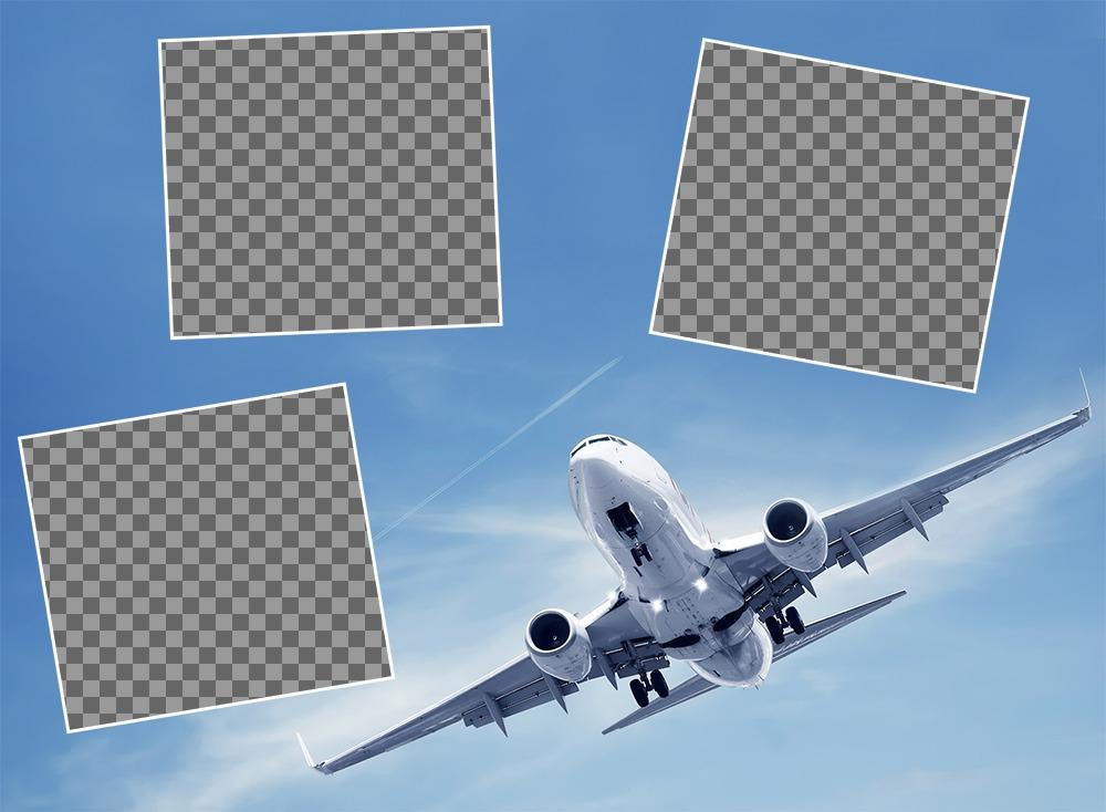 Collage Gratuit pour trois photos avec un idéal davion pour les voyageurs