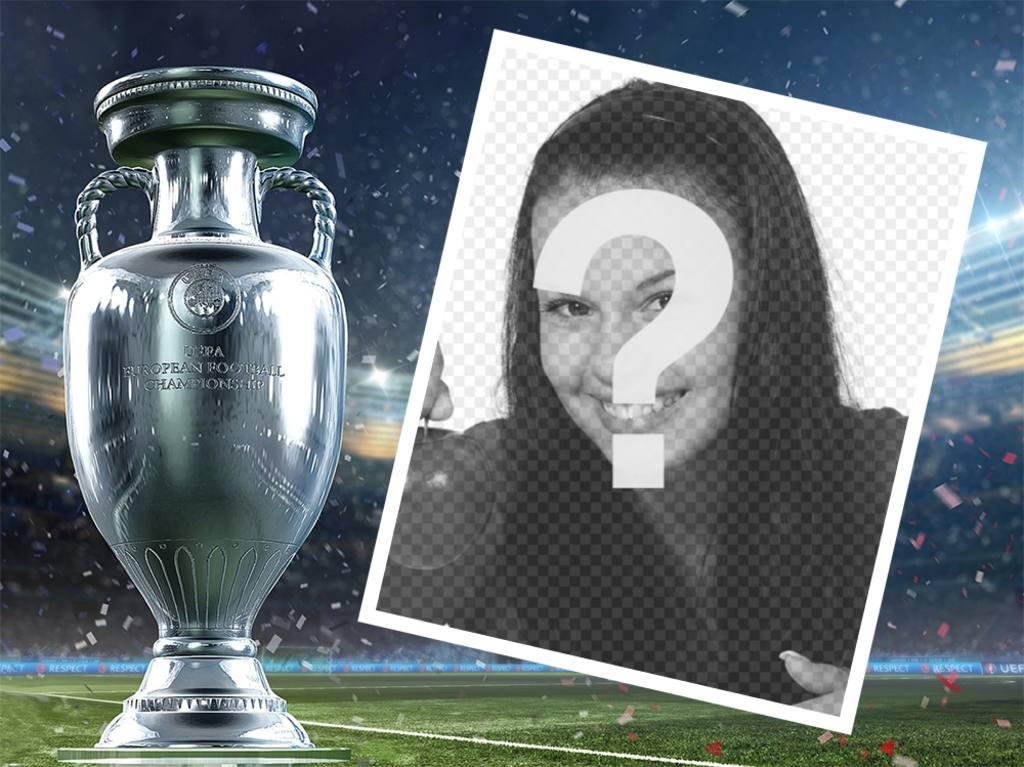 Téléchargez votre photo à ce cadre modifiable avec la Coupe deffet photo gratuit Euro pour modifier votre image et lajouter ainsi que la Coupe de leuro et un stade à larrière-plan. Célébrez la coupe de football européen avec ce cadre que vous pouvez partager sur vos réseaux sociaux avec votre photo