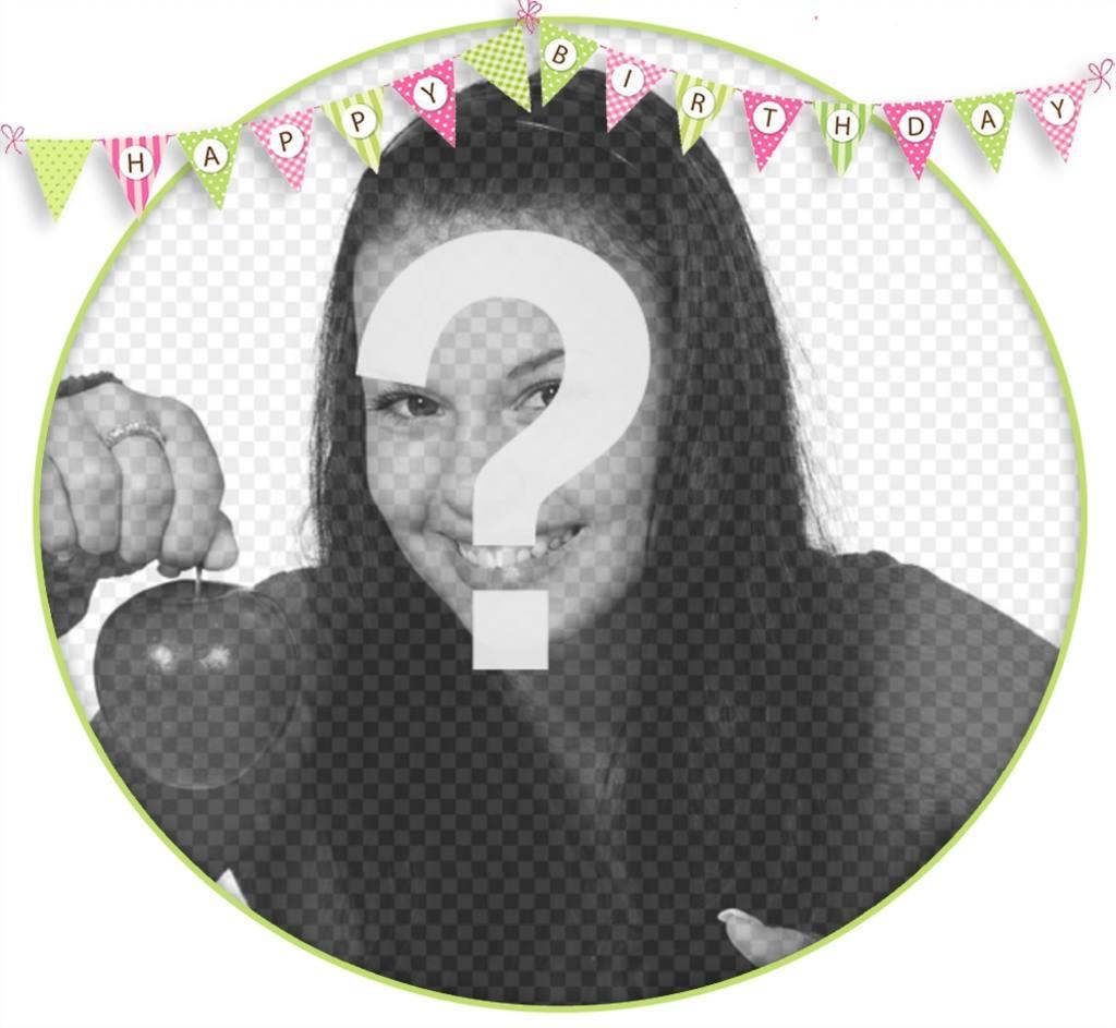 Cadre éditable pour décorer vos photos avec fanions de HAPPY BIRTHDAY