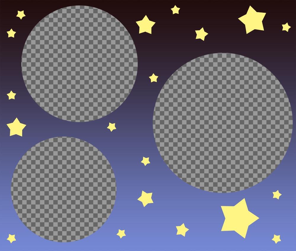 Collage spécial pour télécharger trois photos décorées avec des étoiles