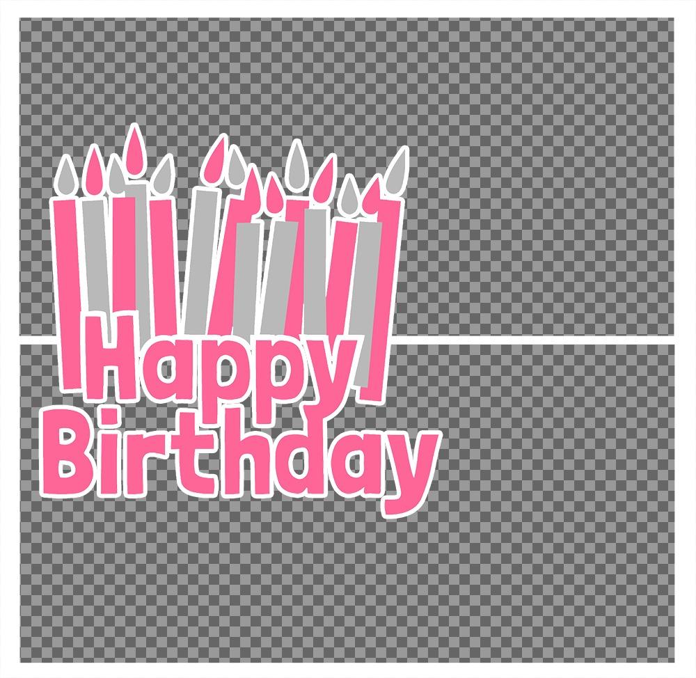 Carte postale pour éditer avec deux photos et ajouter la phrase HAPPY BIRTHDAY avec beaucoup de bougies