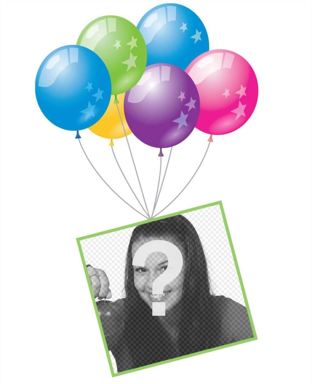 Effet photo avec des ballons et un cadre flottant pour ajouter votre photo de leffet original pour fêter un anniversaire ou une fête. Modifier avec votre photo uploader sur un cadre flottant avec des ballons colorés et partager cette carte postale gratuite dans vos réseaux sociaux