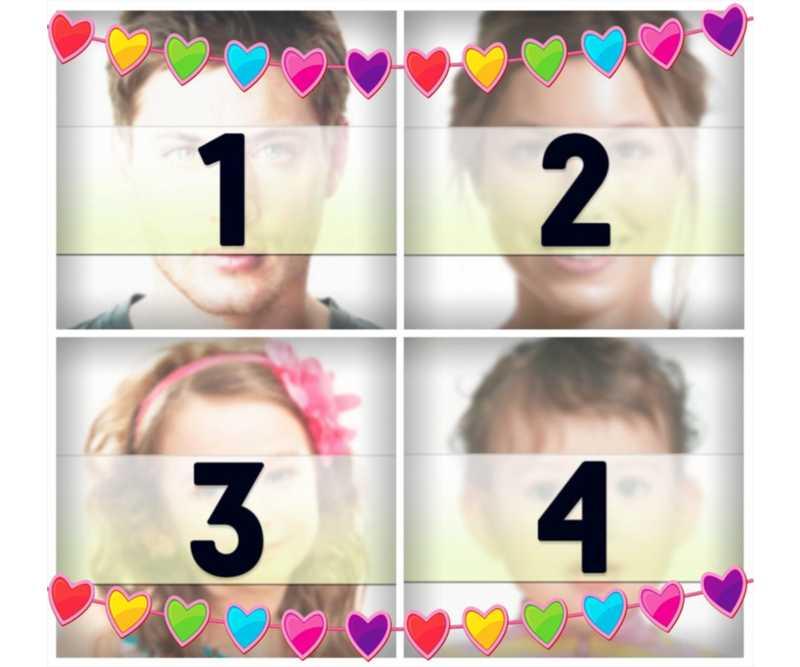 Collage en ligne avec des coeurs colorés pour télécharger quatre photos pour