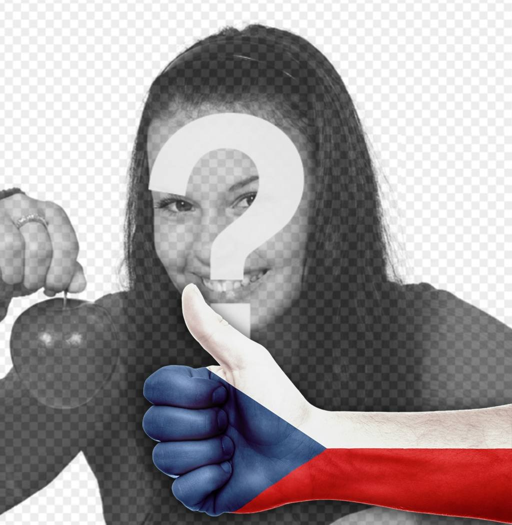 Main avec le pouce et le drapeau de la République tchèque pour ajouter votre photo de photomontages en ligne pour décorer vos photos avec une main et le pouce en place avec le drapeau de la République tchèque, parfait pour votre photo de profil. Et partager avec vos amis pour montrer votre soutien à ce pays avec cet effet libre