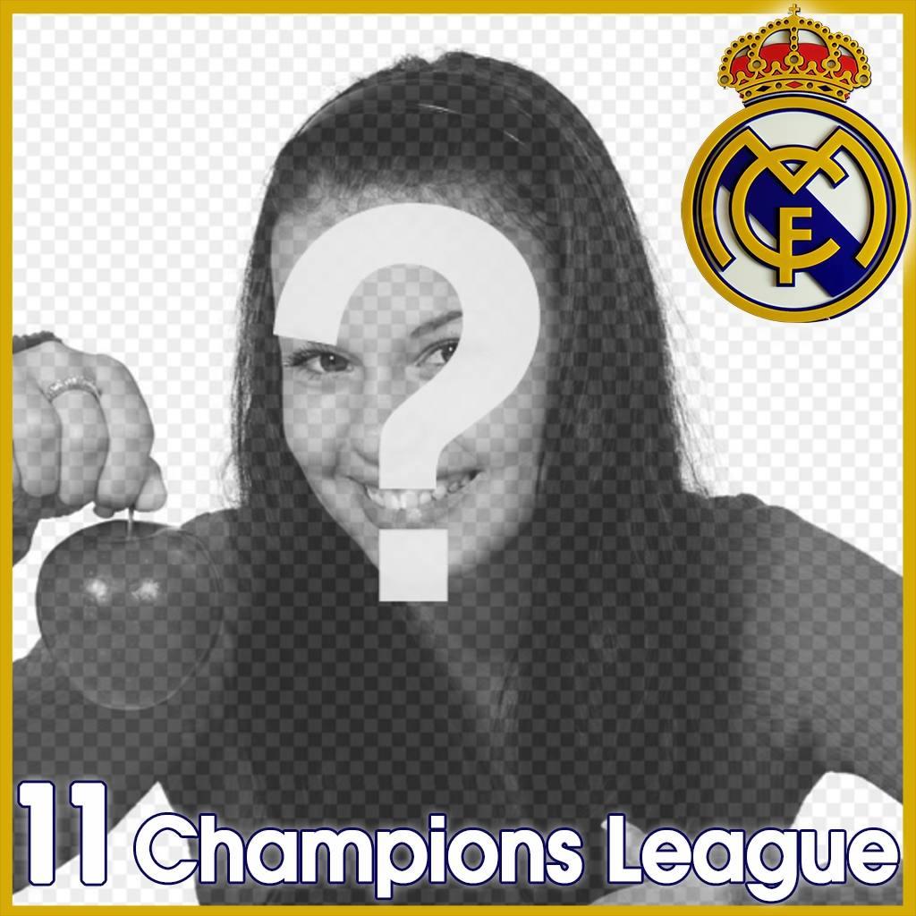 Cadre photo pour ajouter le logo du Real Madrid et 11 Champions League dans votre photo